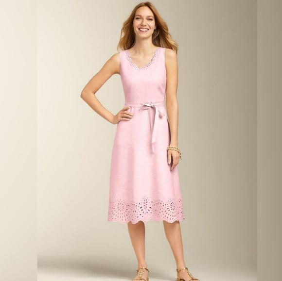 Talbots Plus Size 20W Pink Linen Eyelet Dress